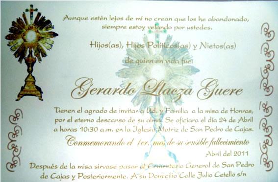 Tarjeta para imprimir invitación a misa de difunto - Imagui