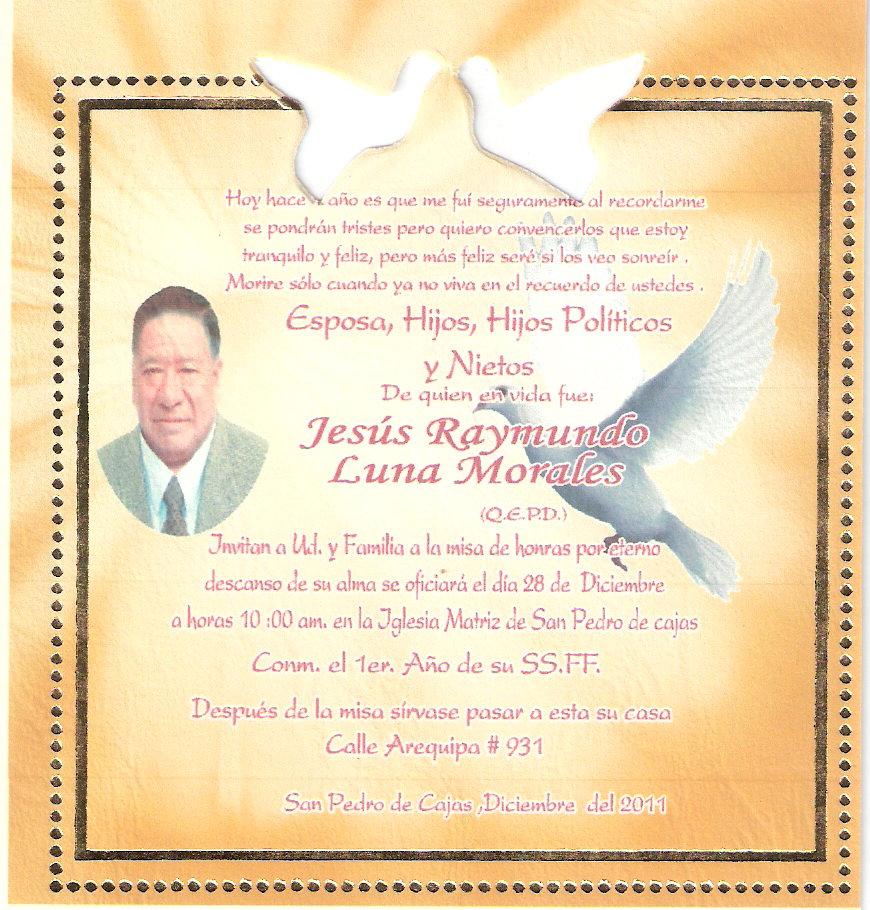 Invitación A Misa De Honras Sr Jesús Raymundo Luna Morales